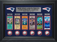 New England Patriots 6-Time Super Bowl Champions Deluxe 6pc Silver Coin & 6pc Ticket Collection Framed LE 1,000