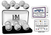 New England Patriots   6-Time Super Bowl Champions 6pc Silver Coin Set LE 5,000