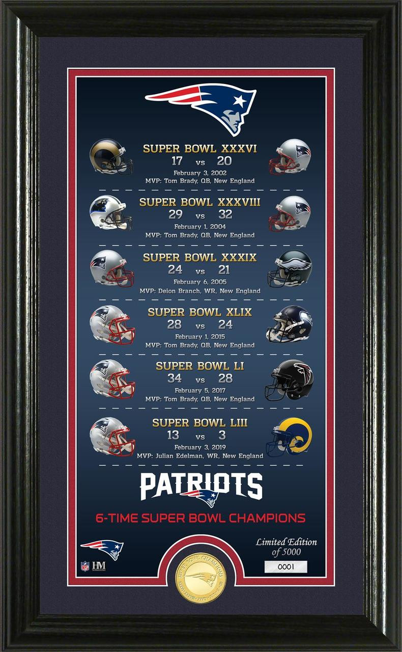 d8c44c8fd New England Patriots 6-Time Super Bowl Champions Legacy 24k Gold ...