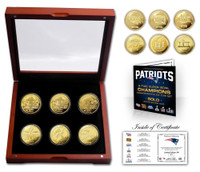 New England Patriots 6-Time Super Bowl Champions 6pc 24k Gold Coin Set LE 500