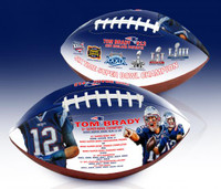 New England Patriots Tom Brady 6X Super Bowl Championship Portrait Art Football Limited Edition 5,000