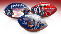 New England Patriots Super Bowl LIII Champions Portrait Art Wilson Leather Football Set of 3 w/Cases Laser Engraved LE 1,000