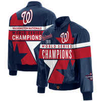 Washington Nationals Navy 2019 World Series Champions Full-Snap Leather Jacket