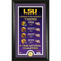 LSU Tigers 4-Time National Champions Legacy 24k Gold Coin Panoramic Photo Mint LE 5,000