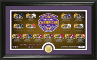 LSU Tigers 2019 National Champions 12'' x 20'' 24k Gold Coin Panorama Photo Mint LE 5,000