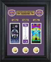 LSU Tigers 2019 Football National Champions 3pc 24k Gold Coin and 3pc Ticket Collection LE 1,000