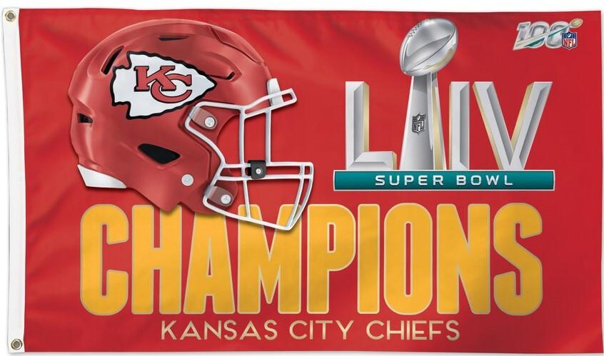 Reddingtonflags Kansas City Chiefs Super Bowl LIV Champions One-Sided Banner 3 x 5 Flag w//Grommet
