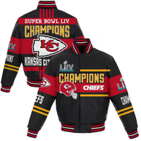 Kansas City Chiefs NFL Pro Line by Super Bowl LIV Champions All-Leather Full-Snap Jacket - Black Sizes: S-3X