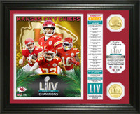 "Kansas City Chiefs Super Bowl 54 Champions ""Banner"" 2pc Gold Coin Photo MintLE 5,000"