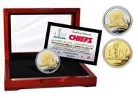 Kansas City Chiefs Super Bowl 54 2-Tone Gold and Silver Coin w/Cherry Wood Display Case LE 5,000