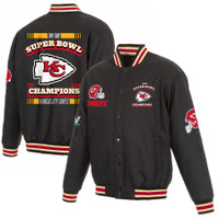 Kansas City Chiefs NFL Pro Line 2-Time Super Bowl Champions Poly-Twill Full-Snap Jacket - Black