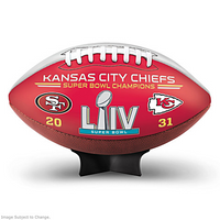 Kansas City Chiefs Super Bowl LIV Leather Football w/Final Score and Display Stand LE 5,400