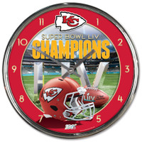 Kansas City Chiefs WinCraft Super Bowl LIV Champions Chrome Wall Clock