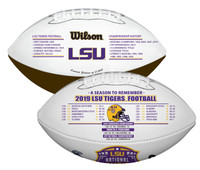 LSU Tigers 2019 CFP National Championship Peach Bowl Leather Commemorative Football w/Seasons Scores LE 5,000