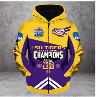 LSU Tigers 2019 National Champions 3D Full Zip Hoodie