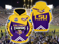 LSU Tigers 2019 National Champions 3D Hoodie NON-Zip