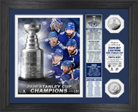 Tampa Bay Lightning 2020 Stanley Cup Final Champions Banner 2pc Silver Coin Photo Mint LE 5,000