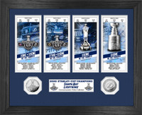 Tampa Bay Lightning 2020 Stanley Cup Final Champions 2pc Silver Coin and 4pc Ticket Collection LE 5,000