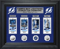 Tampa Bay Lightning 2020 Stanley Cup Final Champions 4pc Silver Coin and 4pc Ticket Collection LE 1,000