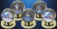 Tampa Bay Lightning Stanley Cup Champs 2020 Limited Edition 5 Puck Set with Display Cases LE 2020
