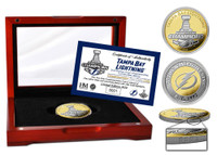 Tampa Bay Lightning 2020 Stanley Cup Final Champions Gold and Silver 2-Tone Coin w/Case LE 2,020