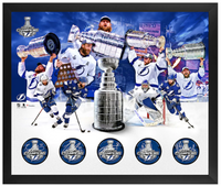 "Tampa Bay Lightning 5 Player Autographed 20"" x 24"" 2020 Stanley Cup Champions 5-Puck Shadowbox - Limited Edition of 100"