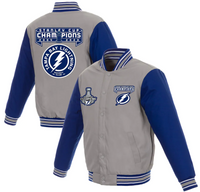 Tampa Bay Lightning Men's Gray/Blue 2-Time Stanley Cup Champions Poly-Twill Jacket with Embroidered and Applique Logos