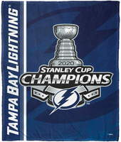 "Tampa Bay Lightning 2020 Stanley Cup Champions 50"" x 60"" Throw Blanket"