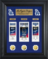 Los Angeles Dodgers 2020 World Series Champions Deluxe 3pc Gold Coin & 3pc Ticket Event Carnet Collection Framed LE 2,020