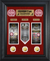 Alabama Crimson Tide 2020/21 Football National Champions Deluxe 3pc Gold Coin and 3pc Ticket Road to The Championship Photo Mint LE 1,000