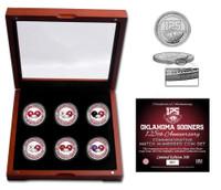 Oklahoma Sooners 125th Season 6pc Color Silver Coin Set w/Case LE 500