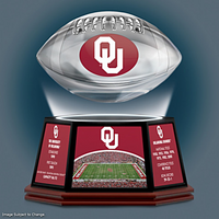 Oklahoma Sooners Levitating Football Lights Up And Spins