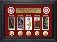 University of Alabama Football National Champions Series Deluxe 5pc Gold Coin and 5pc Ticket Collection LE 1,000