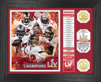 Tampa Bay Buccaneers Super Bowl 55 Champions Banner 2pc Bronze Coin Photo Mint LE 5,000