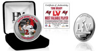 Tampa Bay Buccaneers Super Bowl 55 Tom Brady MVP Color Silver Mint Coin LE 5,500