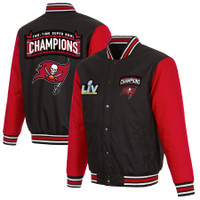 Tampa Bay Buccaneers 2-Time Super Bowl Champions Full-Snap Jacket - Black/Red