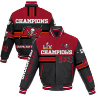 Tampa Bay Buccaneers Men's Black Super Bowl LV Champions All-Leather Full-Snap Jacket