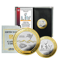 Tampa Bay Buccaneers and Kansas City Chiefs Official Super Bowl LV 24k Gold and Silver Flip Coin w/NFL Case LE COA 10,000