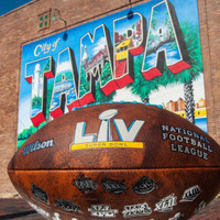 Super Bowl LV Official Throwback Leather Football - All 55 Super Bowl Logos