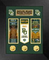 Baylor Bears 2021 NCAA Men's Basketball National Championship Deluxe 3pc Gold Coin and 2pc Ticket Collection LE 1,000