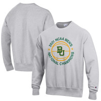 Baylor Bears Champion 2021 NCAA Men's Basketball National Champions Reverse Weave Crewneck Sweatshirt - Gray