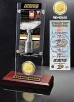 Anaheim Ducks Stanley Cup Champions Ticket and Bronze Coin Acrylic Display