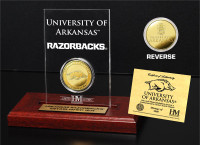 University of Arkansas  24KT Gold Coin Etched Acrylic