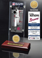 Eddie Mathews Hall of Fame Ticket & Bronze Coin Acrylic Desk Top