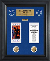 Baltimore Colts Super Bowl Ticket and Game Coin Collection Framed