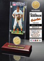 Brooks Robinson Hall of Fame Ticket & Bronze Coin Acrylic Desk Top