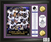 Baltimore Ravens Super BowlxLVII Champions Gold Coin Banner Photo Mint
