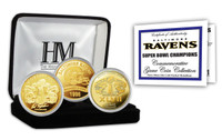 Baltimore Ravens 2-time Super Bowl Champions Gold Game Coin Set