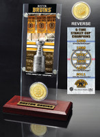 Boston Bruins 6x Stanley Cup Champions Ticket and Bronze Coin Acrylic Display