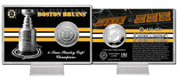 Boston Bruins Stanley Cup History Silver Coin Card
